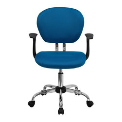 Flash Furniture - Flash Furniture Office Chairs Mesh Task Chairs X-GG-SMRA-RUT-F-6732-H - This value priced mesh task chair will accommodate your essential needs for your home or office space. This chair will add a splash of color to your office for a non-traditional look. Chair features a breathable mesh material with a comfortably padded seat. [H-2376-F-TUR-ARMS-GG]