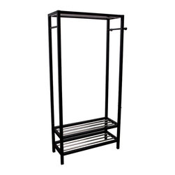 Ore International Inc - Ore International Hanger & Shoe Stand Entry Organizer - N3011-WH - Shop for Closet from Hayneedle.com! Cut down on clutter with the easy-to-assemble Ore International Hanger & Shoe Stand Entry Organizer. This versatile design is crafted from solid wood in your choice of black or white finish (when available) and features racks that can hold at least 10 pairs of shoes and side bars perfect for your scarves ties and more.About Ore International Inc.Ore International Inc. creates beautiful accent furniture lighting and gifts for the home. Their goal is to be the leading provider of innovative superior home products worldwide. Ore International is based in Santa Fe Springs California and has a Customer First attitude. Their products are designed to match modern and classic tastes and fit today's homes. From room dividers to lamps end tables to entertainment centers you'll discover quality craftsmanship at a fair price in all Ore International products.