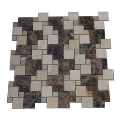 "GlassTileStore - Piazza Pattern Dark Emperador Blend Marble Tiles - Piazza Pattern Dark Emperidor Blend Stone Tile             This tile is made of vairous sized pieces of marble in three colors dark emperidor, light emperidor, and crema marfil blended in a random pattern. Each piece fits into the next like a perfect puzzle. Its stunning design and unique pattern will bring warmth and a natural ambiance to your home.         Chip Size: Random   Color: Dark and Light Emperidor, and Crema Marfil   Material: Stone   Finish: Polished   Sold by the Sheet - each sheet measures 12"" x 12"" (1 sq. ft.)   Thickness: 8mm   Please note each lot will vary from the next.            - Glass Tile -"
