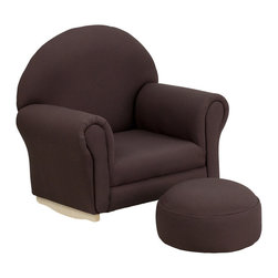 Flash Furniture - Flash Furniture Kids Brown Fabric Rocker Chair and Footrest - Kids will now get to enjoy furniture designed specifically for their size! This charming set is sure to become your child's favorite chair. The rocker base will allow kids to gently rock while watching TV or reading their favorite book. This portable chair is great for seating in any room. The durable fabric upholstery will hold up against your active child.
