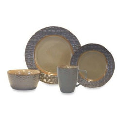 Baum - Baum Trellis 16-Piece Dinnerware Set in Grey - This Earthy stoneware mingles cream and warm grey with a textured geometric pattern. The dinner plate and bowl have the geo pattern on the rim, while the salad plate has the textured center that can be layered in for graphic variation.