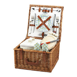 Picnic At Ascot - Cheshire Picnic Basket for Two, Wicker w/ Gazebo - The quality and sophistication of the English style Cheshire Picnic Basket for two is sure to impress. Beautifully hand crafted using full reed willow, each basket includes ceramic plates, glass wine glasses, and the highest quality accessories.