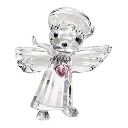 """Inviting Home - Crystal Loving Angel - crystal loving angel; 1.2"""" x 1.7""""H; The crystal loving angel is made of the finest Bohemian crystal from the Czech Republic. This cute little mouse is made of cut crystal with a smooth crystal pink heart and smooth crystal halo. This precious figurine is manufactured by Preciosa a world-class producer of fine crystal and comes with a certificate of authenticity. Preciosa hereby states that this product is not suitable for children under 13 years of age. Preciosa Crystal Figurines embody an outstanding example of skillful craftsmanship cut by machine with meticulous accuracy and the expertise of artisans who pay attention to precise details while putting these pieces together by hand. These pieces are crafted to provide a joy to those who view them while showing off its luster and sensational beauty. Each figurine is accompanied with a Certificate of Authenticity that certifies the genuineness of the Bohemian crystal of which it is made. The crystal loving angel is a perfect gift for those who are near and far. Send this to your sweetheart overseas to provide them with a guardian angel while they are away. This little angel is a perfect way to show that you care for their safety and pray for their safe return. usually ships within 2 - 3 weeks"""
