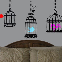Beautiful birdcage vinyl decal with bird - Each decal is made of high quality, self-adhesive and waterproof vinyl and goes on so smoothly that it looks as if it has been painted on.