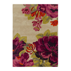 "Surya - Surya Sanderson SND-4507 (Khaki, Magenta) 3'3"" x 5'3"" Rug - This Hand Tufted rug would make a great addition to any room in the house. The plush feel and durability of this rug will make it a must for your home. Free Shipping - Quick Delivery - Satisfaction Guaranteed"