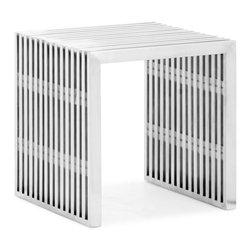 Zuo - Slatted Steel Single Bench - The Slatted Steel Single Bench, made from 100% stainless steel, is strong and versatile.  Put this durable piece of furniture in any space and instantly transform it from boring to bold.  This Slatted Steel Single Bench makes a statement in dining rooms, kitchens, bedroom and the home office.  Pair with the Slatted Steel Double Bench and/or with any of our modern dining tables.  Use as a unique side table, or group to make a modular ottoman.  The Slatted Steel collection also features a console table, long coffee table, square coffee table, and dining table.