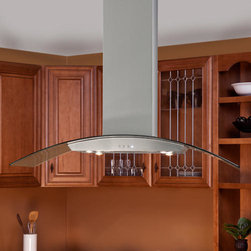 """Casa Series 48"""" Stainless Steel Island Range Hood - 600 CFM - With its graceful arch and glass accent, the Casa Series 48"""" Stainless Steel Island Range Hood will be the focal point in your kitchen. Features four halogen lights, a three-speed blower and a telescoping flue to accommodate most ceiling heights."""