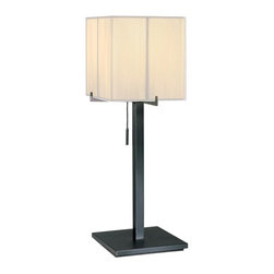 Sonneman Lighting - Sonneman Lighting Boxus Transitional Table Lamp X-15.1533 - From the Boxus Collection, this Sonneman Lighting table lamp is a delightful blend of details. The unique angular frame holds up an eye-catching square off-white silk string diffuser, which draws the eye in. The body, finished in a stunning Black Brass hue, features crisp lines and angles that complete the look.