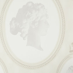 Walls Republic - Impression Pearl Wallpaper R1311, double roll - Impression is ornamental wallpaper with picture frame icons and a woman s face in a classic traditional style. It can be a bold elegant choice for your living room or dining room. Use it to create a historical narrative in your interiors.