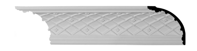 """Ekena Millwork - 4 5/8""""H x 4 5/8""""P x 6 1/2""""F x 94 1/2""""L Brightton Crown Moulding - 4 5/8""""H x 4 5/8""""P x 6 1/2""""F x 94 1/2""""L Brightton Crown Moulding. Our beautiful panel moulding and corners add a decorative, historic feel to walls, ceilings and furniture pieces- They are made from a high-density urethane which gives each piece the unique details that mimic that of traditional plasting and wood designs but at a fraction of the weight- This means a simple and easy installation for you- The best part is that you can make your own shapes and sizes by simply cutting the moulding pieces down to size and then butting them up to the decorative corners- These are also commonly used for an inexpensive wainscot look-Features- Modeled after original historical patterns and designs-- Constructed from solid urethane for maximum durability and detail-- Lightweight for quick and easy installation-- Factory-primed and ready for paint or faux finish-- Can be cut, drilled, glued and screwed-- Designed for use on both interior and exterior applications-- Material- Urethane"""