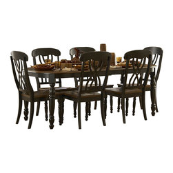 Homelegance - Homelegance Ohana 7-Piece Rectangular Dining Room Set in Black/ Cherry - The design of Ohana collection captures the essence of a casual country home. Its antique white and warm cherry, or antique black and warm cherry finishes give it a striking 2-toned appearance.