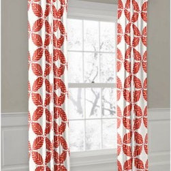 Coral Modern Leaf Custom Outdoor Drapery - Your outdoor space can look hot and stay cool at the same time with custom Convertible Outdoor Drapery panels that can hang on the rod or with rings. Perfect for adding shade and style to sunrooms, cabanas and covered porches! We love it in this modern outdoor trellis of tropical leaves in bright coral red and white. It's ready to soak up the sun!
