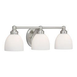 Vaxcel - Stockholm Brushed Nickel 3 Light Vanity - Vaxcel ST-VLD003BN Stockholm Brushed Nickel 3 Light Vanity