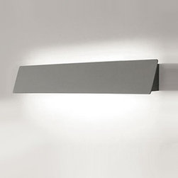 """Segno - Segno Box wall sconce - The Box wall sconce by Segno lighting has been designed by Samanta Frison. This wall mounted luminaire is perfect for energy saving fluorescent lighting. Wall luminaire with metal structure painted in white or silver, with a shield that orients the light upwards, downwards, or to intermediate positions in order to obtain the ideal lighting effect for your specific needs and applications. This fixture provides brilliant energy efficient lighting along with a smart, sleek design. Built-in HF ballast.   Product  description: The Box wall sconce by Segno lighting has been designed by Samanta Frison. This wall mounted luminaire is perfect for energy saving fluorescent lighting. Wall luminaire with metal structure painted in white or silver, with a shield that orients the light upwards, downwards, or to intermediate positions in order to obtain the ideal lighting effect for your specific needs and applications. This fixture provides brilliant energy efficient lighting along with a smart, sleek design. Built-in HF ballast.  Details:                         Manufacturer:            Segno Lighting                                    Designer:                          Samanta Frison                                         Made  in:            Italy                            Dimensions:                        Small: Height: 4.3"""" (11 cm) Width: 25.6"""" (65 cm)             Medium: Height: 4.3"""" (11 cm) Width: 37.4"""" (95 cm)             Large: Height: 4.3"""" (11 cm) Width: 49.2"""" (125 cm)                                         Light  bulb::            Small: 1 X 24W fluorescent   Medium: 1 X 39W fluorescent   Large: 1 X 54W fluorescent                               Material:            Premium Metal, Glass"""