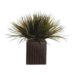 Vickerman - Grass Rectangle - PVC Grass a Matte Black Ceramic pot