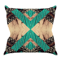 """Kess InHouse - Caleb Troy """"Teal Jungle Galaxy"""" Throw Pillow (16"""" x 16"""") - Rest among the art you love. Transform your hang out room into a hip gallery, that's also comfortable. With this pillow you can create an environment that reflects your unique style. It's amazing what a throw pillow can do to complete a room. (Kess InHouse is not responsible for pillow fighting that may occur as the result of creative stimulation)."""
