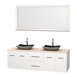 """Wyndham Collection - Centra 72"""" White Double Vanity, Ivory Marble Top, Altair Black Granite Sinks - Simplicity and elegance combine in the perfect lines of the Centra vanity by the Wyndham Collection. If cutting-edge contemporary design is your style then the Centra vanity is for you - modern, chic and built to last a lifetime. Available with green glass, pure white man-made stone, ivory marble or white carrera marble counters, with stunning vessel or undermount sink(s) and matching mirror(s). Featuring soft close door hinges, drawer glides, and meticulously finished with brushed chrome hardware. The attention to detail on this beautiful vanity is second to none."""