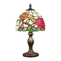 ParrotUncle - Tiffany Style Rose Floral Shade Resin Table Lamps - The most attractive features of Tiffany style lamps are the essence of craftsmanship and its creative design. With a sturdy resin base and a fabulous lampshade made of multicolored stained-glass in lovely flower pattern, this Tiffany table lamp will sure bring a warm and pleasant atmosphere to your home or office.