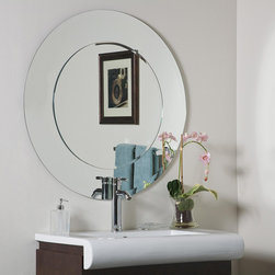 None - Oriana Round Modern Bathroom Mirror - This Oriana round modern wall mirror features a unique design that suits both small and large spaces in need of a modern touch of style. This bathroom mirror features a 0.5-inch inside bevel and is crafted from thick, strong glass.