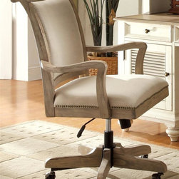 Riverside Furniture - Coventry Upholstered Desk Chair - Swivel. Padded seat cushion and back rest. Five-prong tilt base with rocker tension adjustment knob. Casters for convenient mobility. Gas lift height adjustment handle. 100% linen Upholstery. Cleaning code: Ss. CPSC HR-4040 certified. Made from hackberry hardwood solid and ash veneer. Distance between arms: 21.5 in. W. Adjustable seat height from floor: 18.75 - 22.75 in.. Adjustable arm height from floor: 26.25 - 30.25 in.. 27 in. W x 24.25 in. D x 40.25 in. H (40 lbs.). Assembly Instructions