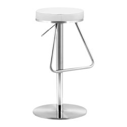 ZUO - Zuo Soda Barstool in White - Dig out your letter jacket, the fabulous 50's style soda fountain bar stool is back! If you are a devotee of Diner chic, you'll love this modern twist on a popular classic. An adjustable stainless steel frame with a leatherette seat cushion, in black or white, is easy to assemble and promises plenty of old and new memories!