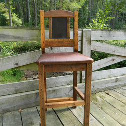 Lakota Cove Barnwood Furniture - Front side of the barstool. Leather seats and burl wood back.  They are very comfortable and stylish for any lodge home.