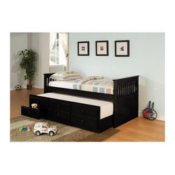 "Coaster - ""Coaster Daybed, Twin, Black - 3 pk."" - ""This classic daybed will be a wonderful addition to the youth bedroom or spare room in your home. This piece has great style and function, with clean lines, and simple slatted ends. This piece can provide a comfortable place to lounge during the day, and cozy spot to sleep at night. A convenient trundle below allows you to easily accommodate overnight guests, pulling out simply to provide an extra twin size sleeping space. Three spacious storage drawers below the trundle offer lots of space for clothing and extra linens, so you can make the most of your room. Available in black, white, and rich medium cherry finishes, this solid wood captain's bed will be an excellent choice for your home.Finish/Color: (Black)Innerspring Mattress RequiredAssembly Required: YesMade in Vietnam"""
