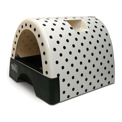 Kittyagogo - Designer Cat Litter Box with Polka Dot Cover - The Kitty A Go-Go Cat Litter Box with Polka Dot Cover is designed for cats who believe in going in style. The striking designs offer an alternative to those bland looking plain plastic litter boxes. Spice up your kitty's life with a fun and practical litter box design. Features: -Arrives fully assembled. Just add litter.-Product Type: Standard Litter Box.-Color: Polka Dot.-Distressed: No.-Powder Coated Finish: No.-Gloss Finish: Yes.-Material: Plastic.-Number of Items Included: 4.-Pieces Included: Pullout litter drawer, hooded enclosure, clear hangable door, hand scoop.-Non Toxic: Yes.-Weather Resistant: Yes.-Water Resistant: Yes -Water Resistant Details: Solid, plastic design is watertight..-Scratch Resistant: No.-Stain Resistant: Yes.-Odor Resistant: No.-Non-Skid: Yes.-Fire Resistant: No.-Leakproof: Yes.-Antimicrobial: No.-Designer: Yes.-Enclosed / Hooded: Yes -Locking Lid: Yes.-Safety Lid: Yes..-Door Cutout: Yes.-Odor Filter: No.-Starter Kit: Yes.-Multi Pack: No.-Shape: Round.-Capacity: 720 cubic inches.-Handles: Yes.-Built-In Scoop: Yes.-Sifting Pan: No.-Rim: Yes.-Outdoor Use: Yes.-Foldable: No.-Plug-In: No.-Accessory Storage: Yes.-Suitable for Multiple Cats: Yes.-Battery Powered: No.-Weight Capacity: 25.-Commercial Use: Yes.-Recycled Content: No.-Eco-Friendly: No.-Product Care: Wipe clean with a sponge or cloth. Use Windex of mild cleaning sprays.Specifications: -Cats International Approved: No.-BPA Free: No.-CPSIA or CPSC Compliant: Yes.-General Conformity Certificate: No.-Greenguard Certified: No.Dimensions: -Overall Height - Top to Bottom: 15.87.-Overall Width - Side to Side: 18.-Overall Depth - Front to Back: 21.46.-Interior Height - Top to Bottom: 8.-Interior Width - Side to Side: 12.-Interior Depth - Front to Back: 21.-Door: -Door Height - Top to Bottom: 8.-Door Width - Side to Side: 12.-Height to Door - Front to Back: 4..-Overall Product Weight: 17.Assembly: -Assembly Required: No.-Additional Par