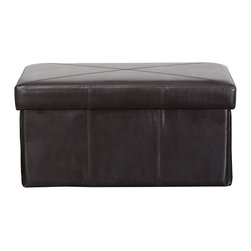 Great Deal Furniture - Peabody Folding Faux Leather Storage Ottoman Seat - What if you could quickly and easily fold away your furniture so that regardless of the needed setting (family game night, couples night, cocktail party, etc.), you could effortlessly create the perfect atmosphere? While we can't say that all furniture can do this, the Peabody Faux Leather Storage Ottoman Seat does just that!