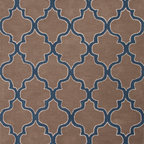 Jaipur Rugs - Hand-Tufted Geometric Pattern Wool Taupe/Blue Area Rug ( 3.6x5.6 ) - Over scaled sharp geometrics characterize this striking contemporary range of  hand tufted rugs. The high/low construction in wool and art silk creates texture and surface interest and gives a look of matt and shine.