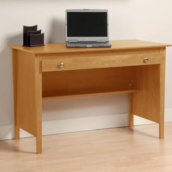 Prepac Contemporary Wood Laptop Desk in Maple - The Contemporary Wood Laptop Desk in Maple is a simple and stylish desk that is perfect for a study, den, dorm or guest room. It includes a large work surface and a wide, roll-out drawer with storage for your papers, office supplies or your laptop. The drawer runs on smooth roller glides. Square, brushed nickel knobs complement the angular lines of the tapered legs to give this desk a retro-modern style. The back of the desk is finished so that it can be placed anywhere in a room. Constructed from a combination of high quality, laminated composite woods, it offers extremely good value for stylish yet budget conscious buyers.