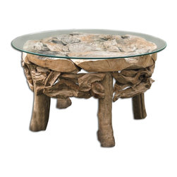 Uttermost - Uttermost Teak Root Round Coffee Table 25619 - Natural, unfinished reclaimed teak wood with a clear glass top.