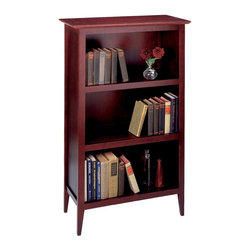 "Winsome Wood - Wooden Bookcase in Espresso, 3 Shelves - Add this sophisticated bookcase to a bare wall in any room to show off your reading collection and fancy accessory keepsakes.  It features 3 shelves in a rich espresso finish in a chic compact design to enhance the space around it.  The 48"" tall Wooden Bookcase in Espresso appealingly combines traditional and contemporary design influences to pleasing effect.  This quality crafted bookcase features 3 sturdy shelves for books or media, stands on stylish tapered legs, and displays a beautiful warm Espresso finish. * Espresso finish. Wood Frame. 3 Shelves. 48"" H x 30"" W x 13.8"" D. 46 lbs"