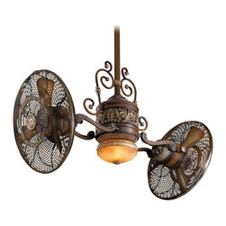 "Minka Aire - Minka Aire F502-BCW Traditional Gyro Belcaro Walnut Dual 42"" Ceiling Fan - Features:"