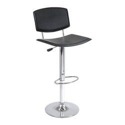 """Winsome - Spectrum Air Lift Stool Black - Spectrum Adjustable Airlift Stool has black faux leather upholstery, chrome base and handle a full support back with curved seat for comfort. The Spectum stool adjusts from 24 to 30"""" in height and comes with a chrome foot rest. The product is shipped rea"""