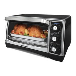 Applica Consumer Prod - Toaster Oven Broiler - Bakes, broils, toasts and bagel functions. 6-slice capacity with non-stick interior. Curved glass door. 1-hour timer. Includes 2 wire racks, heavy duty enamel bake pan, slide-out crumb tray and broil insert. Brushed chrome, double wall construction.