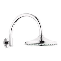 """GROHE - Grohe Rainshower Retro Shower Arm - Sterling Infinity Finish - Available in multiple finishes. Features & SpecsTubular curved armInlet: 1/2"""" male threadsShown with 28 375 Retro RainshowerCan be used with any GROHE shower head EXCEPT Rainshower Jumbo. View Spec Sheet"""