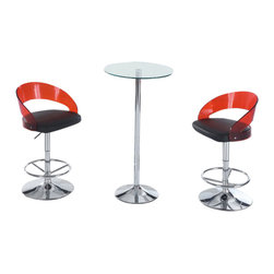 Global Furniture USA - M828BT + M208BS-R/BL Glass Table With Black PVC & Red Acrylic Stools Bar Set - The M208BT + M250BS bar set is the ideal piece for any decor that needs a touch of modern design. Made from chromed metal and glass this bar unit is a great addition for any modern decor. The bar features a round glass top with a base made of chromed metal. Each stool is comes upholstered in a black PVC material with a red acrylic backing. The stools are height adjustable and have built-in footrests. The bar set shown includes one bar unit and two stools.