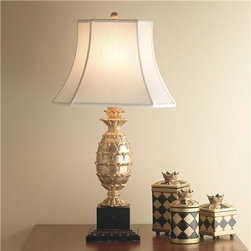 Gold Pineapple Table Lamp - Add a gold-leaf pineapple lamp to any room for some extra elegance.