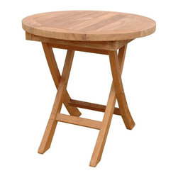 """Anderson Teak - Bahama 20 in. Mini Side Round Folding Table - Unfinished - When you want ready access on the patio or poolside for loungers and side chairs, end tables are the ideal size.  These teak rounds are suited to the outdoors and fold for easy rearranging and storage.  Slatted tops keep moisture from pooling on the surface.  Set those bronze picture frames, Birds of Paradise and out-of-print books on your unassumingly simple, cozy, old-American Solid Teak End Table - Indoor/Outdoor charmingly constructed and designed to bring a cozy, welcoming appeal to your home's décor now and for generations to come.  Sturdy composition makes all the difference. * Folding legs. Round in shape. Solid Teak wood construction. 20 in. Dia. x 20 in. H (9 lbs.)This solid Teak """"Mini Side Folding Table"""" makes the perfect addition to your patio, garden, backyard or anywhere. Fold it up and carry it away."""