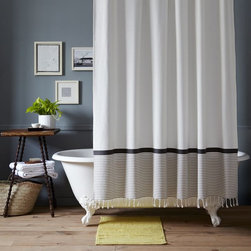 Stripe Border Shower Curtain - It's about time for me to get a new shower curtain. This one sings to me. I love the simple white color and adore the addition of the stripes on the bottom.