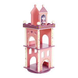 "Levels of Discovery - Princess Revolving Bookcase - Castle motif in pink, purple and cream with gold accents Special Message: The Royal Library Revolves for easy access 10"" and 12"" shelves Always a Princess & Almost Always a Princess photo frame bookends - each holds one 4"" x 6"" photoRevolves for easy access. Two shelves. Photo frame bookends. All products have instructions included for assembly."