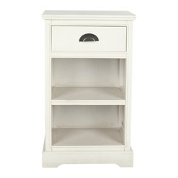 Safavieh - Aklim Side Table - A classic country cottage look gets a fashion makeover in the crisp white Aklim side table. Crafted of pine wood with contrasting half-moon drawer pull, this timeless piece is fitted with two shelves for reading material or knickknacks. Use Aklim as a sofa lamp table or bedside.