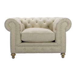 """Bensington Upholstered Chair - Reproduction of the classic Chesterfield in eco-style linen with hand-hammered shoe nails. Eight-way hand-tied spring suspension and coordinating back cushions are all 50% feather and down + 50% polyfiber wrapped around a 4-1/2"""" foam core, hardwood frame. Hardwood ash legs, Antique finish."""