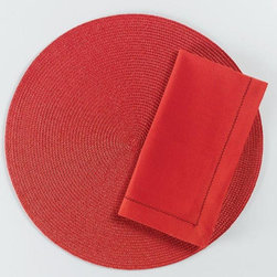 "Origin Crafts - Red round woven placemats set of 4 - Red Round Woven Placemats Set of 4 Napkins & Placemats sold separately. Sets of four. Durable. Virtually stain resistant. Woven w/polypropylene plastic and cotton thread. Wipe clean w/damp cloth. Dimensions: Placemats - 15"" dia. Napkins - 20"" x 20"" By Tag Ltd. - Tag Ltd. is a supplier of decorative"