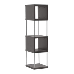 Baxton Studio - Baxton Studio Murillo Dark Brown Modern Display Shelf Tower - Things are looking up: elegantly display your decor on. Designed for optimum visual impact. This four-shelf display tower is imported from Malaysia, where it is made with hollow engineered wood, dark brown(Espresso) faux wood grain paper veneer, and steel supports, allowing for all angles of your marvelous mementos to be admired. Wipe the surfaces with a dry cloth for easy, effortless cleaning.