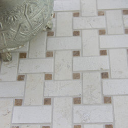 """Basket Mosaic Blend Marble Tile - Crema Luna w/Travertine Noce - Floor Tile - Basket Mosaic Blend  Blends combine approximately 1"""" x 2"""" rectangles with 3/8"""" dots to create a basketweave pattern. Rectangles are in two finishes adding another dimensional quality to the surface texture."""