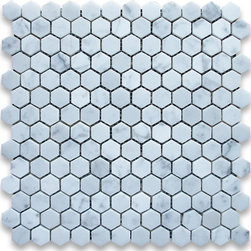 "Stone Center Corp - Carrara Marble Hexagon Mosaic Tile 1 inch Polished - Carrara white marble 1"" (from point to point) hexagon pieces mounted on 12"" x 12"" mesh tile sheet"