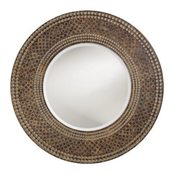 """Howard Elliott - Hampton Mirror with Antique Faux Maple and Oak - This Transitional piece features a round resin frame with a beautifully carved ring design that encircles the mirror. This detail gives the mirror an attractive faux marble mosaic effect Frame Dimensions: 35"""" Diameter X 3""""D; Mirror Dimensions: 21"""" Diameter; Finish: Antique Faux Maple & Oak; Material: Resin; Beveled: Yes; Shape: Round; Weight: 19 lbs; Included: Brackets, Ready to Hang; Shipping: Free Shipping via FedEx 7-10 Business Days"""