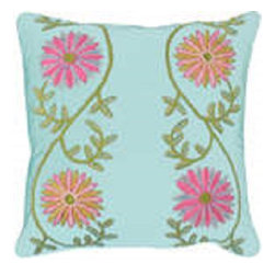 Crewel Fabric World - Crewel Pillow Sunflower Vine Aqua Cotton Duck 20x20 Inches - Artisans in a remote mountain village in Kashmir crewel stitch these blossoms, vines and leaves by hand, resulting in a lush pattern of richly shaded wool yarns on Linen, Cotton, Velvet, Silk Organza, Jute. Also backed in natural linen, Cotton, Velvet Silk Organza, Jute with a hidden zipper.